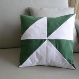 Housse de coussin carrée triangles bicolores