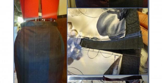 Doubler jupe droite à ceinture rapportée