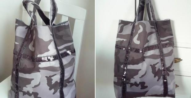Cabas camouflage et paillettes