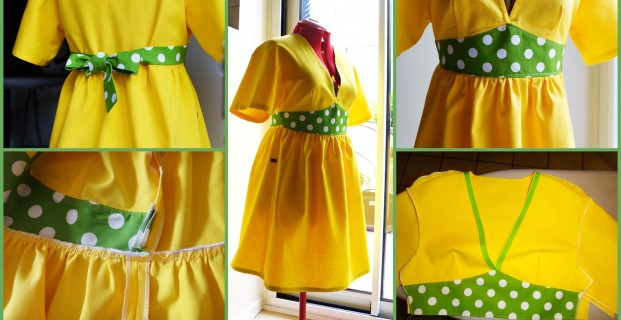 Assemblage robe taille haute