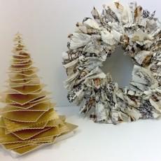 Couronne et sapin de Noël en tissu