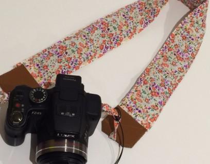 Sangle appareil photo doublée et avec du cuir