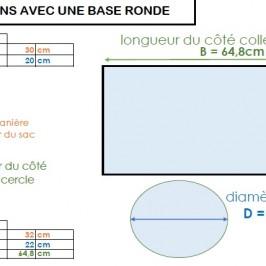 Calcul de dimensions pour sac base ronde