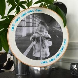 Tambour à broder en guise de cadre photo