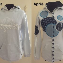 Sweat transformé en veste customisée
