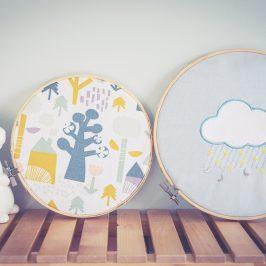 Jolies décorations tambours à broderie