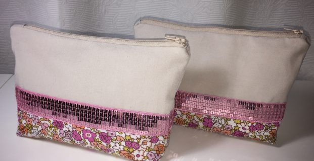 Trousse à maquillage Liberty et sequins
