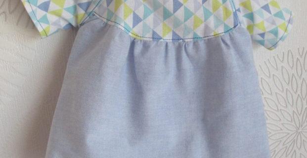 Robe ou tunique froncée poupon 36cm