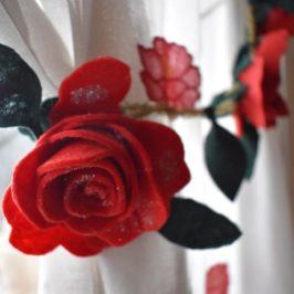 Guirlande de roses à coudre ou à coller