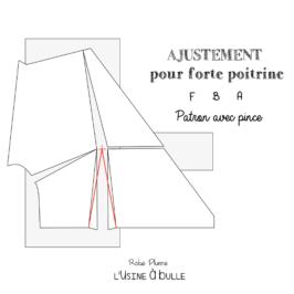 Ajustement pour forte poitrine (FBA) – Patron avec pince / tissu chaîne et trame
