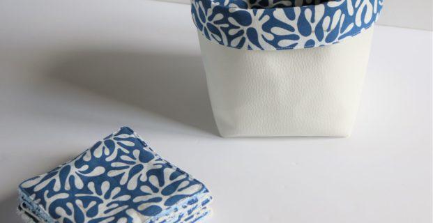 Les Lingettes lavables et leur petit panier