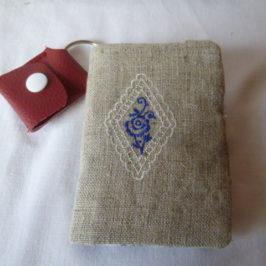Porte-clefs lin et chutes de tissu 2ème version