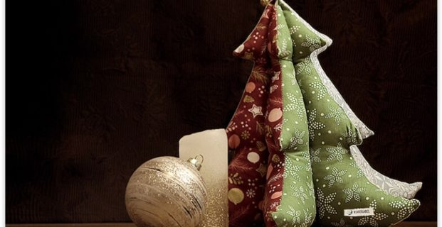 Sapin de Noël décoratif en tissu
