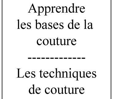 Les techniques de couture