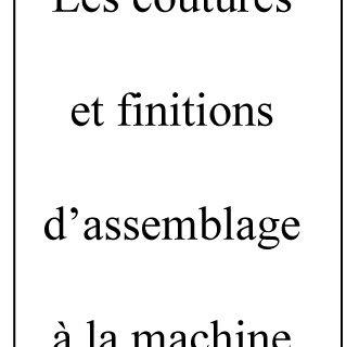 Les coutures et finitions d'assemblage à la machine